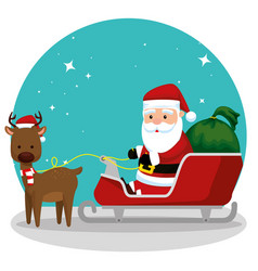santa claus in the sled with gifts and deer vector image