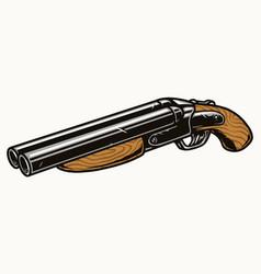Sawed-off shotgun colorful vintage template vector
