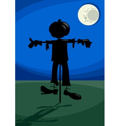 scarecrow at night cartoon vector image