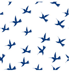 seamless pattern flying little birds paradise vector image