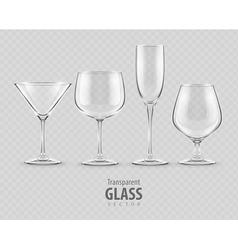 Set of transparent glass vector