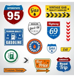 Set of vintage gasoline retro signs and labels vector