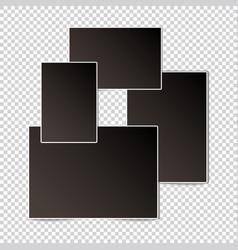 set of vintage photo frame mockups on transparent vector image
