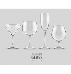 Set transparent glass vector
