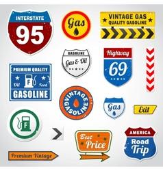 Set vintage gasoline retro signs and labels vector