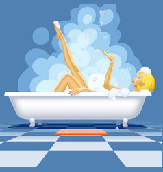 Sexy blonde naked girl relaxing in hot bath in vector
