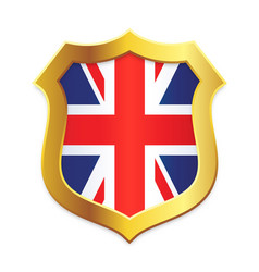 shield classic gold with uk flag vertical vector image