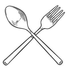 sketch crossed cutlery fork and spoon vector image