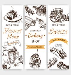Sketch tea time vintage card vector