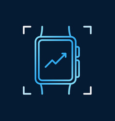 smartwatch linear blue icon smartwatch vector image