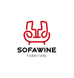 sofa wine logo icon relax concept logotype vector image
