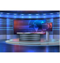 Studio interior for news broadcasting empty room vector