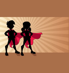 super kids ray light silhouette vector image