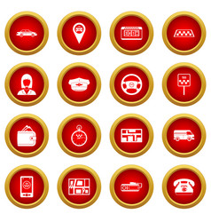 Taxi icon red circle set vector