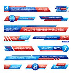television news bars set vector image