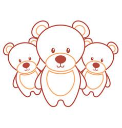 three teddy bears cute animal toy vector image
