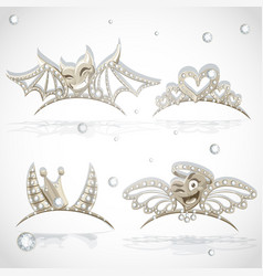 Tiaras with hearts for carnival costume vector