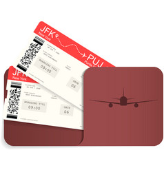 Two realistic airline tickets or boarding pass i vector