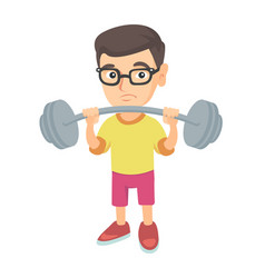 upset caucasian boy lifting heavy weight barbell vector image