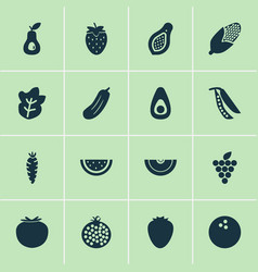 vegetable icons set with guacamole strawberry vector image