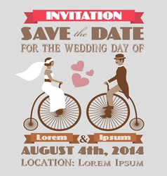vintage wedding invitation 2 vector image