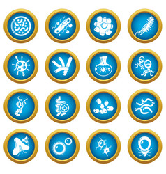 Virus bacteria icons set simple style vector