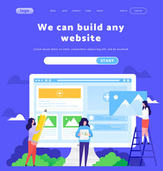 web site design template business team vector image