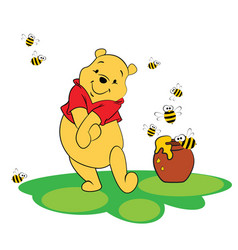 Winnie pooh with bees and honey pot vector