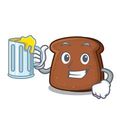 with juice brown bread mascot cartoon vector image