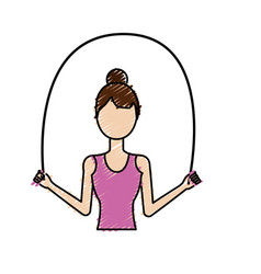 Woman jumping to do exercise vector
