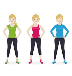 Woman playing sport with different sportswear vector