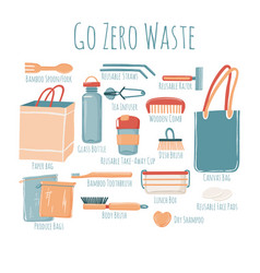 Zero waste starter kit poster with captions vector