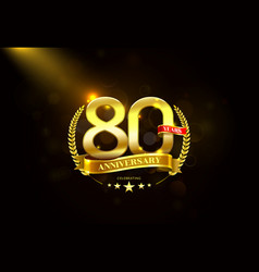 80 years anniversary with laurel wreath golden vector image