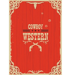 Cowboy western red background with guns vector image vector image