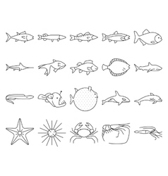 Fishes icon set vector image vector image