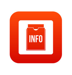 info folder icon digital red vector image