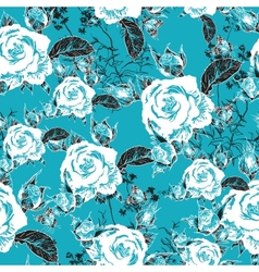 Seamless background with roses and butterflies vector image vector image