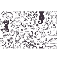 seamless pattern with hand draw funny cats vector image