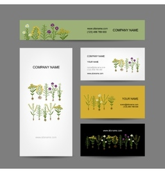 Business cards collection design herbarium plants vector image