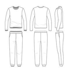 clothing set of long sleeved shirt and sweatpants vector image vector image