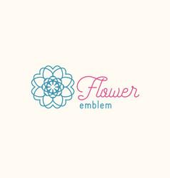 Flower store linear emblem vector