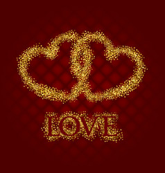 golden glittering symbol of two hearts with love vector image