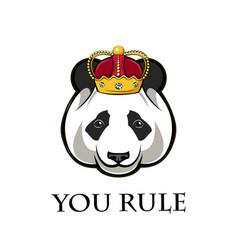 panda in crown vector image vector image
