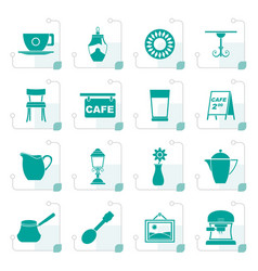 stylized cafe and coffeehouse icons vector image