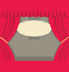 theater scene with red curtains and board for text vector image vector image