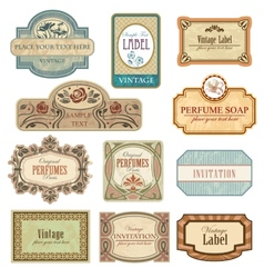 Ornate vintage labels in style Art Nouveau vector image vector image