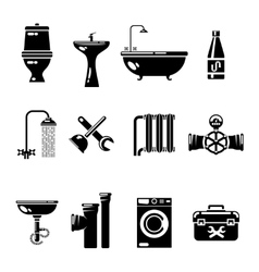 Plumbing icons Water pipe and shower toilet sink vector image vector image
