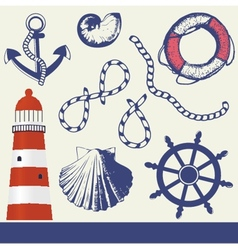 Vintage marine elements set vector image