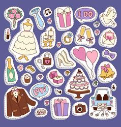 Wedding cartoon icons vector