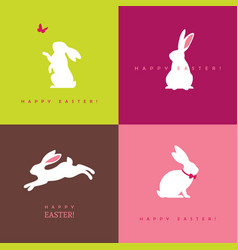 four white bunny silhouettes vector image vector image